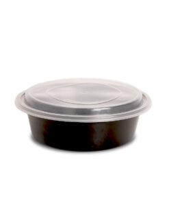 Genanvendelige runde madbokse med låg